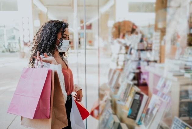 shopper in window